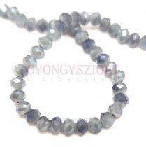 Csiszolt fánk gyöngy - Opal White Metallic Grey Luster - 3x4mm - szálon