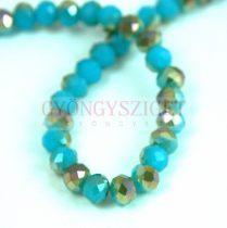 Csiszolt fánk gyöngy - Turquoise Green Opal Metallic Luster - 5x6mm - szálon