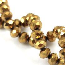 Csiszolt fánk gyöngy - Golden Bronz - 5x6mm - szálon