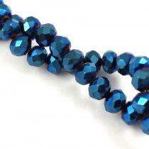 Csiszolt fánk gyöngy - Metallic Blue Iris - 5x6mm - szálon