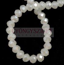 Csiszolt fánk gyöngy - White Opal Luster - 5x6mm - szálon