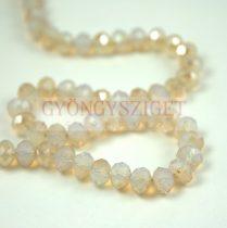 Csiszolt fánk gyöngy - White Opal Honey Blend - 6x8mm - szálon