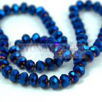 Csiszolt fánk gyöngy - Metallic Blue Iris - 6x8mm - szálon