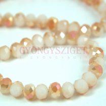 Csiszolt fánk gyöngy - White Opal Peach AB - 6x8mm - szálon