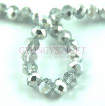 Csiszolt fánk gyöngy - Crystal Silver - 6x8mm - szálon