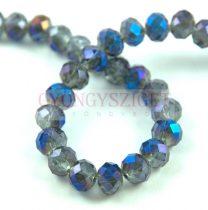 Csiszolt fánk gyöngy - Black Diamond Metallic Blue - 6x8mm - szálon