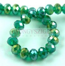Csiszolt fánk gyöngy - Emerald Metallic Luster - 6x8mm - szálon