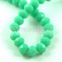 Csiszolt fánk gyöngy - Turquoise Green - 6x8mm - szálon
