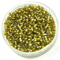Miyuki delica gyöngy 0908 - Sparkling Beige Lined Chartreuse - 11/0