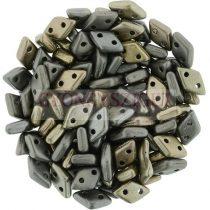 Diamond gyöngy - kétlyukú - Matte Metallic Grey Iris - 4x6mm