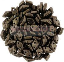 Diamond gyöngy - kétlyukú - Dark Bronze - 4x6mm