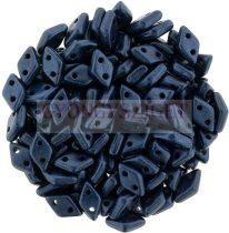 Diamond gyöngy - kétlyukú - Matte Metallic Blue Night - 4x6mm