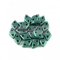 Diamond gyöngy - kétlyukú - Matte Metallic Green - 4x6mm