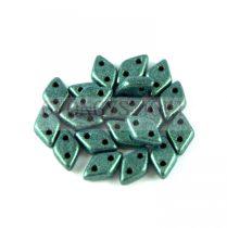 Diamond gyöngy - kétlyukú - Matte Metallic Green - 4x6mm