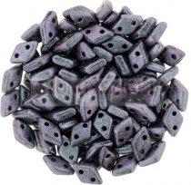 Diamond gyöngy - kétlyukú – Jet Polichrome Orchid Aqua – 4x6mm