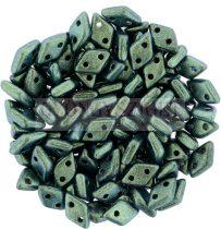 Diamond gyöngy - kétlyukú – Jet Polichrome Aqua Teal – 4x6mm
