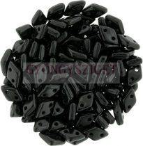 Diamond gyöngy - kétlyukú - Opaque Black - 4x6mm