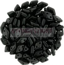 Diamond gyöngy - kétlyukú - Opaque Black - 4x6mm