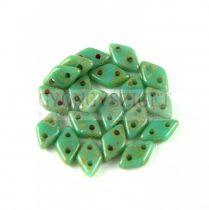 Diamond gyöngy - kétlyukú - Turquoise Green Picasso - 4x6mm