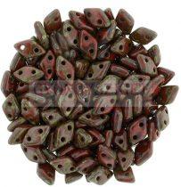 Diamond gyöngy - kétlyukú - Opaque Red Picasso - 4x6mm