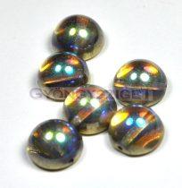 Dome cseh préselt üveggyöngy - crystal golden rainbow - 14x8 mm