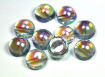 Dome cseh préselt üveggyöngy - crystal blue rainbow - 14x8mm