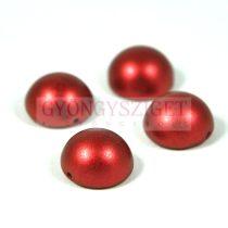 Dome cseh préselt üveggyöngy - lava red - 14x8mm