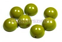 Dome cseh préselt üveggyöngy - borsózöld - 14x8mm
