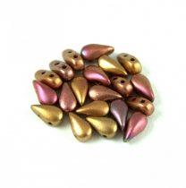 DropDuo - cseh préselt kétlyukú gyöngy - Matte Metallic Bronze Iris - 3x6mm