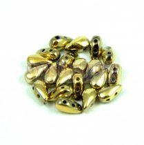 DropDuo - cseh préselt kétlyukú gyöngy - Crystal Full Amber - 3x6mm