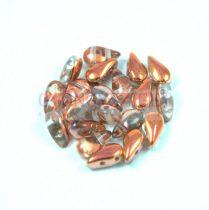 DropDuo - cseh préselt kétlyukú gyöngy - Crystal Rainbow Metallic Peach - 3x6mm