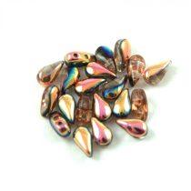 DropDuo - cseh préselt kétlyukú gyöngy - Crystal Capri Gold - 3x6mm