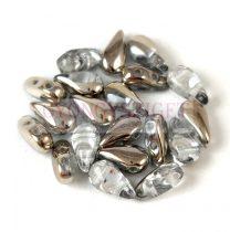 DropDuo - cseh préselt kétlyukú gyöngy - Crystal Argentic - 3x6mm