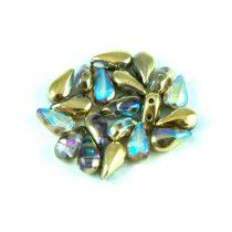 DropDuo - cseh préselt kétlyukú gyöngy - Crystal Golden Rainbow - 3x6mm