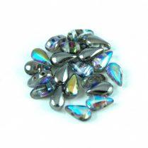 DropDuo - cseh préselt kétlyukú gyöngy - Crystal Graphite Rainbow - 3x6mm