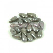 DropDuo - cseh préselt kétlyukú gyöngy - White Gray Luster - 3x6mm