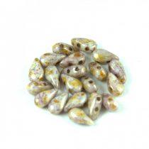 DropDuo - cseh préselt kétlyukú gyöngy - White Brown Bronze Luster - 3x6mm