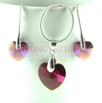 Ékszer szett - Swarovski szív - 6228 - Fuchsia Bronze Shade / Amethyst Shimmer