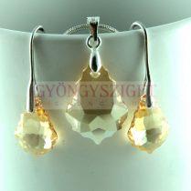Ékszer szett - Swarovski Barokk csepp - 6090 - Crystal Golden Shadow