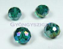 Csiszolt kristály fánk - emerald ab - 9x12mm