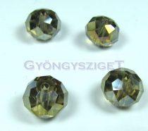 Csiszolt kristály fánk - black diamond ab - 9x12mm