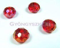 Csiszolt kristály fánk - light siam ab - 9x12mm