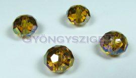 Csiszolt kristály fánk - light topáz ab - 9x12mm