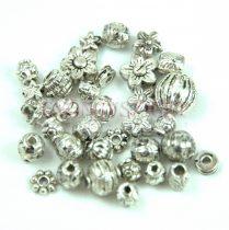 Fém alkatrész mix - Antik ezüst színű - 20g
