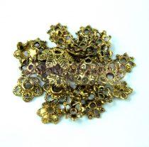 Fém alkatrész mix - gyöngykupak - antik arany színű