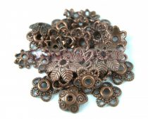 Fém alkatrész mix - gyöngykupak - antik vörösréz színű