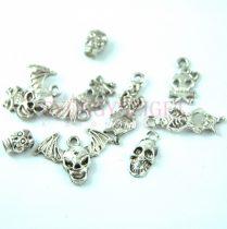 Fém alkatrész mix - koponya medálok- antik ezüst színű