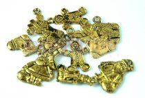 Fém alkatrész mix - téli medálok- antik arany színű