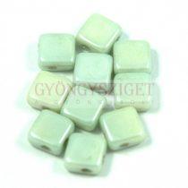 Flat Silky gyöngy - alabástrom zöld lüszter- 6x6mm