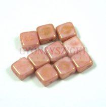 Flat Silky gyöngy - alabástrom rózsa lüszter- 6x6mm